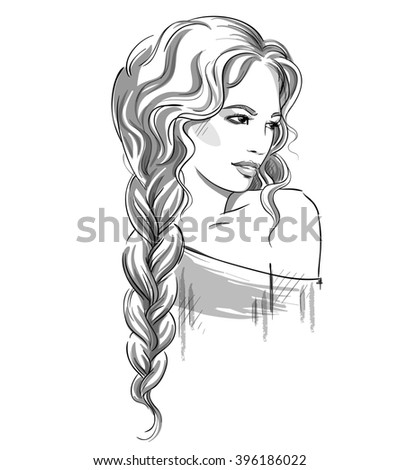 Sketch of a beautiful girl with braid. Black and white. Fashion illustration  - stock photo