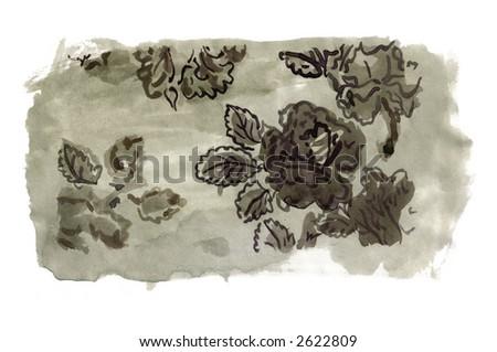 sketch of a decorative flower arrangement - handmade - stock photo