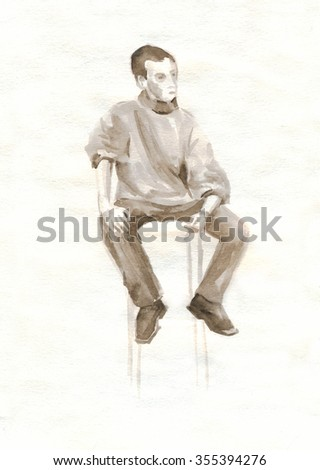 Sketch of a seated figure of a young man, watercolor