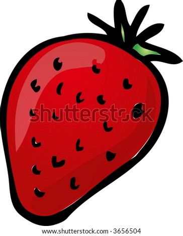 Sketch of a strawberry. Hand-drawn lineart look illustration - stock photo