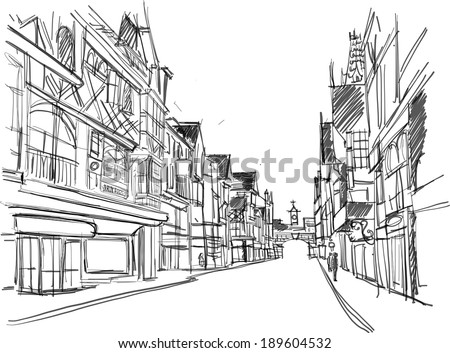 sketch of a street in the old town - stock photo