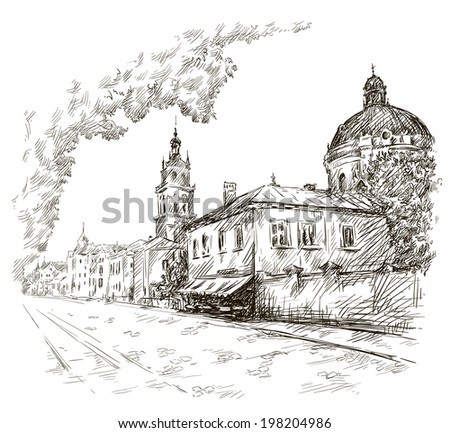 Sketch of a street. Old city. City centre - stock photo