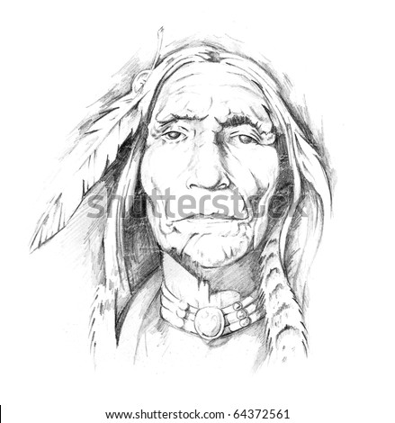 Sketch of a tattoo, indian head - stock photo