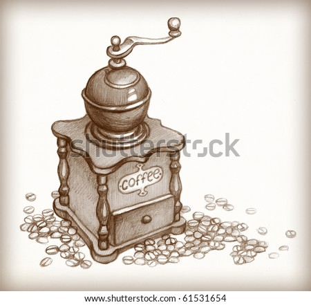 Sketch of coffee grinder - stock photo