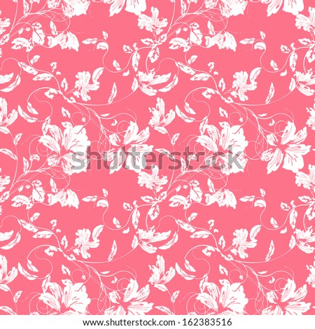Sketch of flowers.Seamless pattern.  - stock photo
