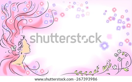 Sketch of girl with long hair and flowers - stock photo