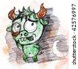 Sketch of green devil - stock vector