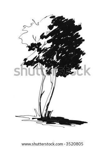 Sketch of lonely tree