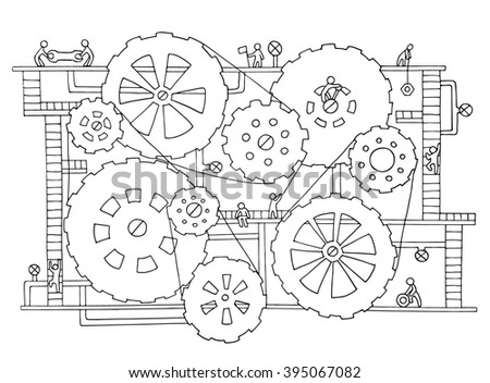 Sketch of people teamwork, gears, production. Doodle cartoon mechanism with machinery and cogwheels. Hand drawn illustration for business design isolated on white. - stock photo