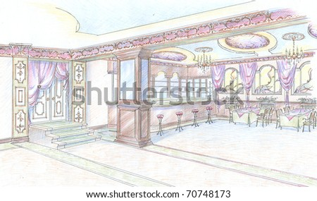 Sketch of restaurant hall with bar - stock photo