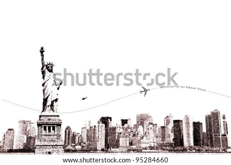 Sketch of Statue of Liberty and New York city, tourism conceptual - stock photo