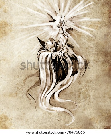 Sketch of tatto art, warlock, sorcerer, halloween concept - stock photo