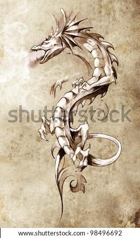 Sketch of tattoo art, big medieval dragon, fantasy concept - stock photo