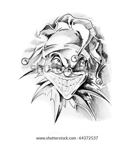 Sketch of tattoo art, clown - stock photo