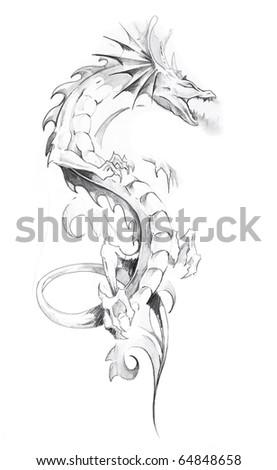Sketch of tattoo art, dragon - stock photo
