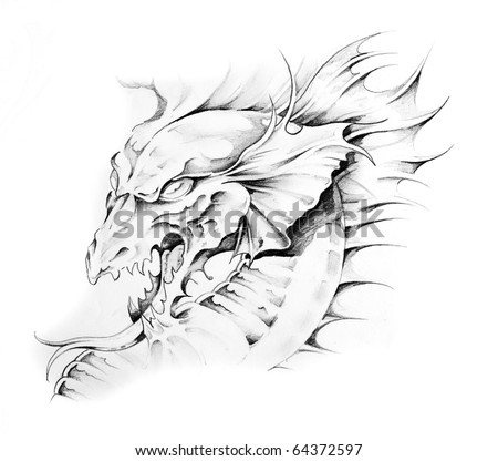 Sketch of tattoo art, dragon head - stock photo