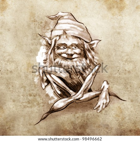Sketch of tattoo art, funny sitting gnome - stock photo