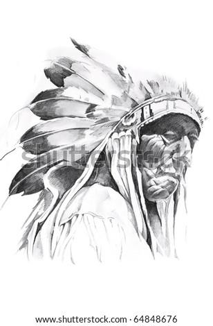 Sketch of tattoo art, indian head - stock photo