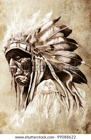 Sketch of tattoo art, indian head, chief, vintage style - stock photo