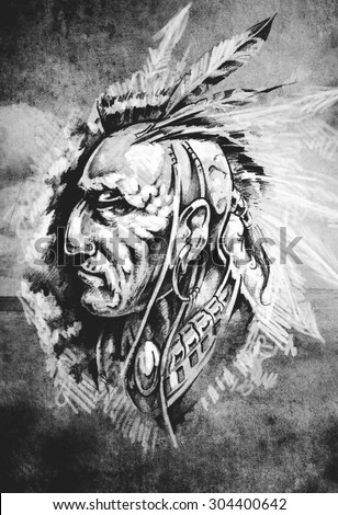 Sketch of tattoo art, indian head over cropfield background - stock photo