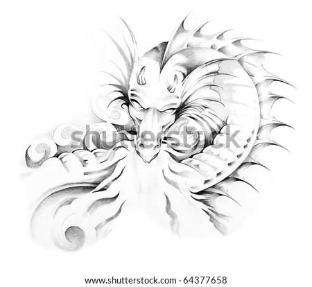 Sketch of tattoo art, medieval dragon - stock photo