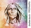 Sketch of tattoo art, portrait of american indian head over colorful paper - stock photo