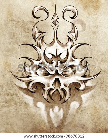Sketch of tattoo art, skull mask with tribal design - stock photo