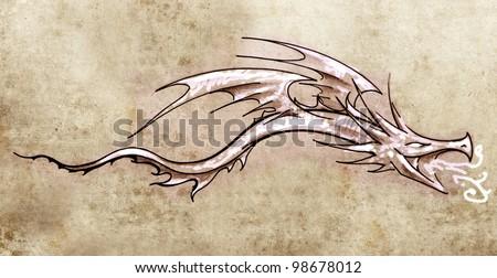 Sketch of tattoo art, stylish decorative dragon - stock photo