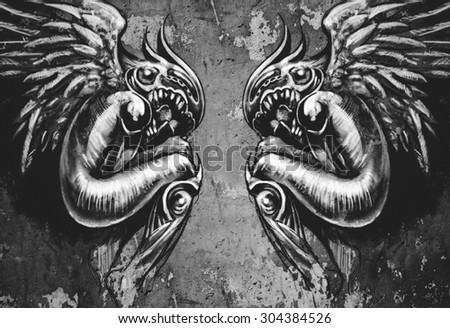 Sketch of tattoo art, two angels, fantasy concept over wall - stock photo