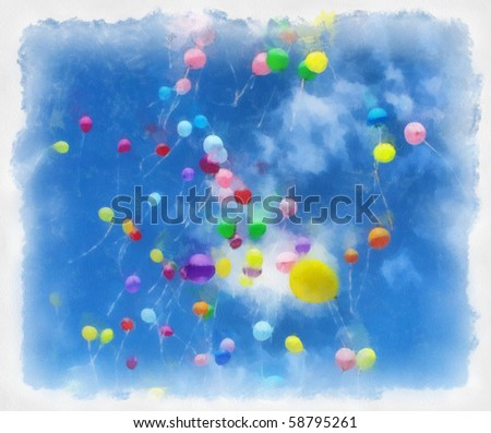 sketch of the balloons in the sky on watercolor paper - stock photo