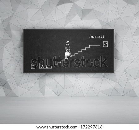 Sketch of the way to success - stock photo