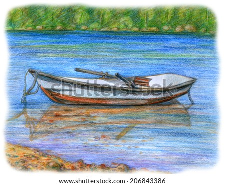 Sketch picture of laid up boat. Color pencil illustration of bark in the harbor with a view of forest and sand shore - stock photo