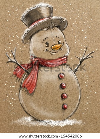 sketch style christmas snowmen - stock photo