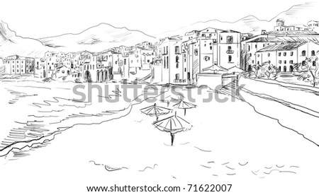 Sketch to the greek town