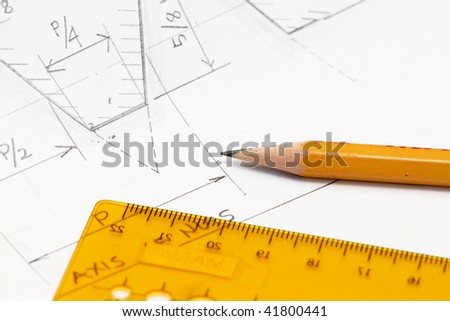 Sketch with sharp pencil - concept for engineering and drafting works. - stock photo
