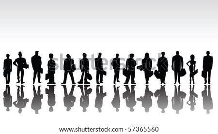Sketch with Stylized business people silhouettes