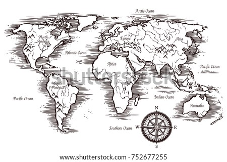 Sketch World Map Template In Black And White Colors With Titles Of Continents Oceans Illustration