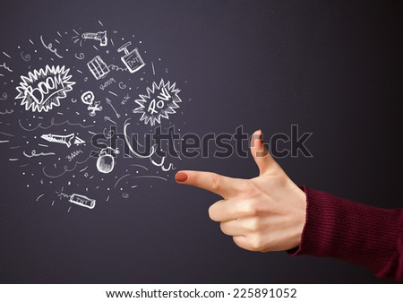 Sketched explosive weapons coming out of gun shaped hands - stock photo