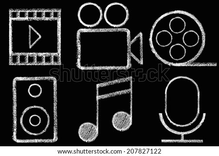 Sketched internet icons set - stock photo