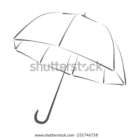 Sketched Umbrella Rain Protection Symbol Design Stock Illustration