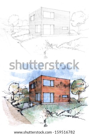 Sketches of a cubic house made by two techniques. - stock photo