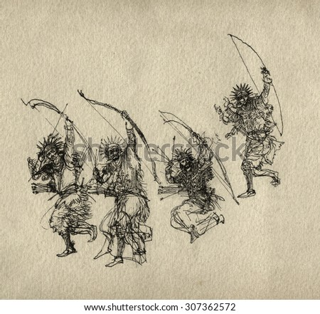 Sketches of archers - stock photo