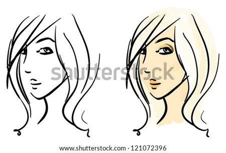 Sketches set. Beautiful girl's face in two variants, monochrome strokes and colorful filling