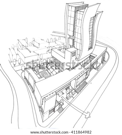 sketching and design - conceptual design of the administrative tower - view 4 - stock photo