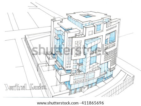 sketching and design - conceptual design of the administrative tower - view 5 - stock photo
