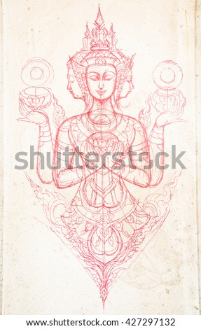 Sketching art Thai style at temple, Rayong province Thailand - stock photo