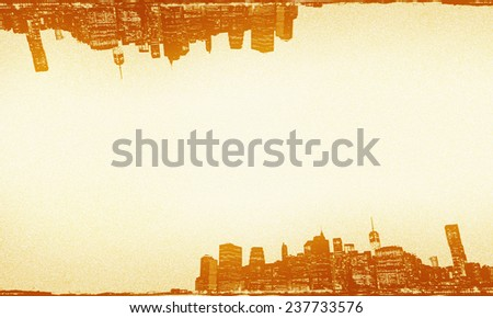 Sketching background of New York skyline with vintage tone. - stock photo
