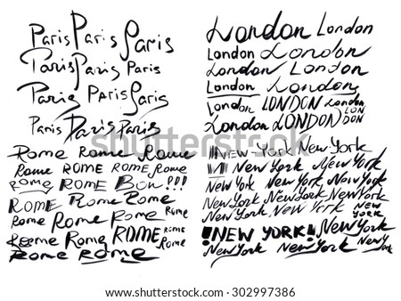 Sketching by black maker of word London, Paris, Rome and New York