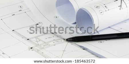 sketching drawing of modern building construction  - stock photo