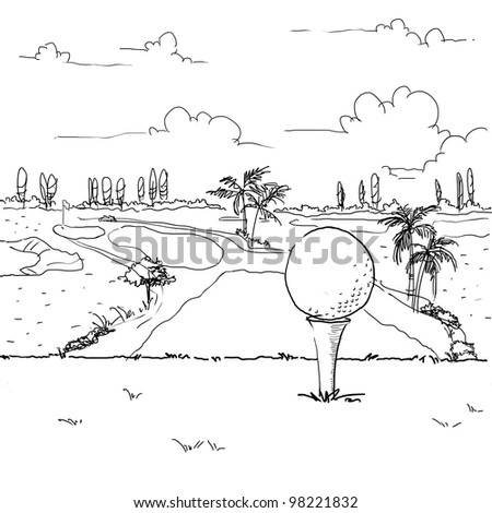 sketching golf ball on tee off area - stock photo